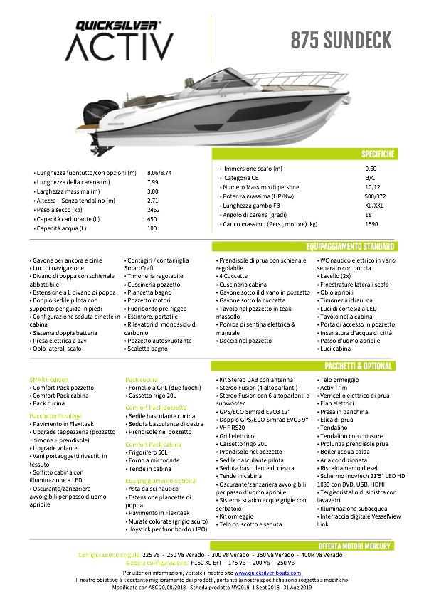 Quicksilver Activ 875 sundeck PRONTA CONSEGNA